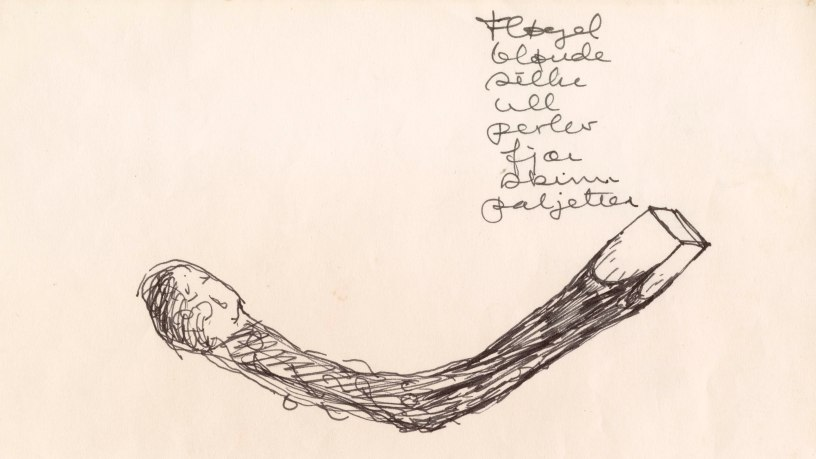 Sidsel Paaske, «Brent fyrstikk», skisse, ca 1966. Foto: Nasjonalmuseet / Annar Bjørgli