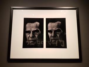 Fotograf Tom Sandberg (1953-2014) sitt dobbeltportrett av kunstneren Jacob Weidemann 1993, fra 1993. Foto fra utstillingen: Siri Wolland