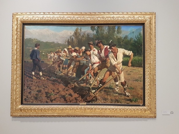 """Peder Severin Krøyer (1851-1909) """"Italienske landarbeidere fra Abruzzerfjellene"""", 1880. Foto fra utstillingen: Siri Wolland"""