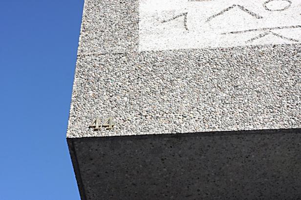 Naturbetong på Y-blokkas fasade. Foto Siri Wolland