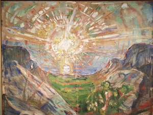 Edvard Munch, Solen. 1910-13, beskåret. Foto fra utstillingen: Siri Wolland