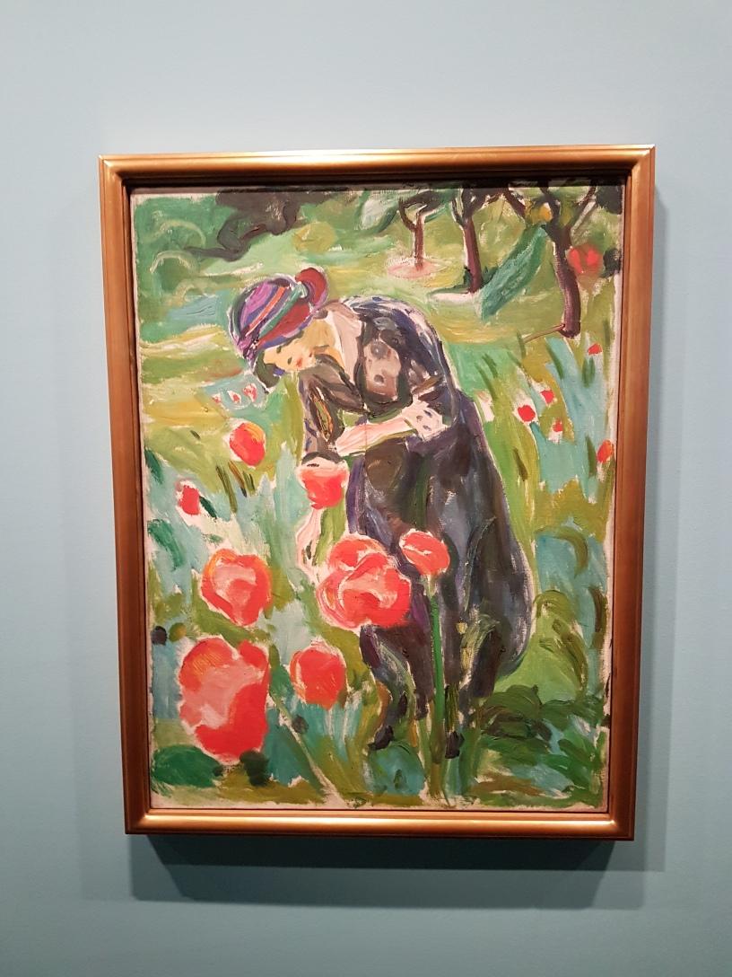 Edvard Munch, Kvinne med valmuer. 1918-19. Foto fra utstillingen: Siri Wolland