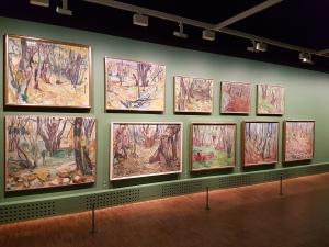 Edvard Munch, div. malerier i avdelingen Skogen. Foto fra utstillingen: Siri Wolland