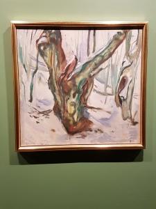 Edvard Munch, Knudrete trestamme i snø, 1923. Foto fra utstillingen: Siri Wolland