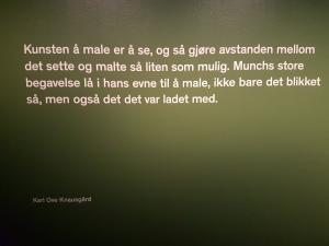 Sitat fra Knausgård, på veggen i avdelingen Skogen. Foto fra utstillingen: Siri Wolland
