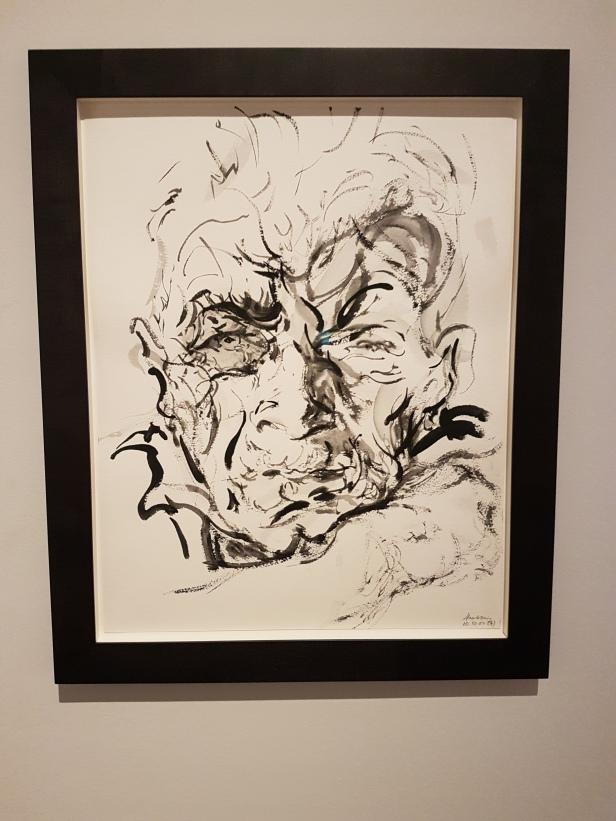 Maggi Hamling (f.1945), John Berger, forfatter og kunstkritiker. Foto fra utstillingen: Siri Wolland.