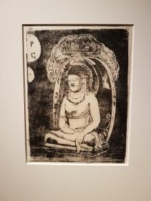 Paul Gauguin, Vollard Suite, Buddha, 1898-99. Tresnitt. Foto fra utstillingen: Siri Wolland