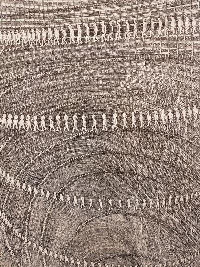 Pushwagner, nærbilde, SELF-PORTRAIT. Foto fra utstillingen: Siri Wolland