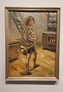 Per Krohg (1889-1965),Gutt med jakthorn, 1924. Foto fra utstillingen: Siri Wolland.