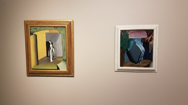 Per Krohg (1889-1965) Dame i grått og gult, 1919 og Mann med skygge, 1919. Foto fra utstillingen: Siri Wolland.