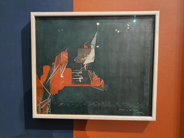 Jean Crotti, Virginité en déplacement. Jomfruelighet i forskyvning. 1916. Foto fra utstillingen Siri Wolland