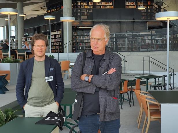 Stein Lund fra arkitektene Lund Hagem og Marius Mowe fra Atelier Oslo, 2020. Foto Siri Wolland.
